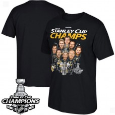 2017 Stanley Cup Champions Pittsburgh Penguins Black Caricature T-shirt