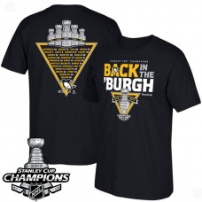 2017 Stanley Cup Champions Pittsburgh Penguins Black Celebration Roster T-shirt