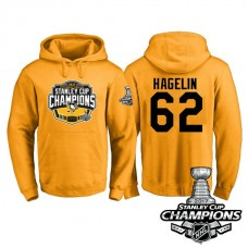 #62 Pittsburgh Penguins Carl Hagelin Gold 2017 Stanley Cup Champions Pullover Hoodie With Hat