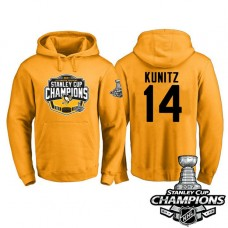 #14 Pittsburgh Penguins Chris Kunitz Gold 2017 Stanley Cup Champions Pullover Hoodie With Hat