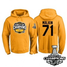 #71 Pittsburgh Penguins Evgeni Malkin Gold 2017 Stanley Cup Champions Pullover Hoodie With Hat