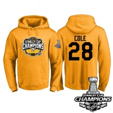 #28 Pittsburgh Penguins Ian Cole Gold 2017 Stanley Cup Champions Pullover Hoodie With Hat