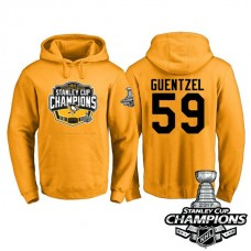 #59 Pittsburgh Penguins Jake Guentzel Gold 2017 Stanley Cup Champions Pullover Hoodie With Hat