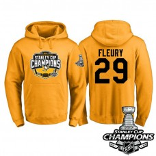 #29 Pittsburgh Penguins Marc-Andre Fleury Gold 2017 Stanley Cup Champions Pullover Hoodie With Hat