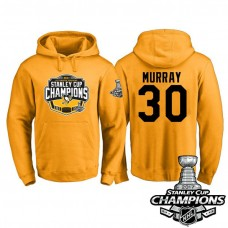 #30 Pittsburgh Penguins Matt Murray Gold 2017 Stanley Cup Champions Pullover Hoodie With Hat