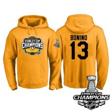 #13 Pittsburgh Penguins Nick Bonino Gold 2017 Stanley Cup Champions Pullover Hoodie With Hat