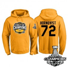 #72 Pittsburgh Penguins Patric Hornqvist Gold 2017 Stanley Cup Champions Pullover Hoodie With Hat