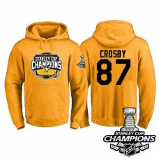 #87 Pittsburgh Penguins Sidney Crosby Gold 2017 Stanley Cup Champions Pullover Hoodie With Hat