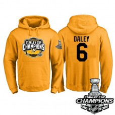 #6 Pittsburgh Penguins Trevor Daley Gold 2017 Stanley Cup Champions Pullover Hoodie With Hat
