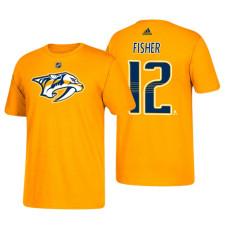 Nashville Predators #12 Mike Fisher Gold T-Shirt Adidas