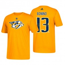 Nashville Predators #13 Nick Bonino Gold T-Shirt Adidas