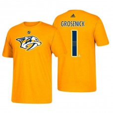 Nashville Predators #1 Troy Grosenick Gold T-Shirt Adidas