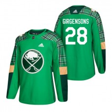 Buffalo Sabres #28 Zemgus Girgensons 2018 St. Patrick's Day Green Jersey