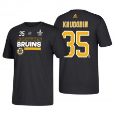 Boston Bruins #35 Anton Khudobin 2018 Stanley Cup Playoffs Black Participant Adidas T-shirt