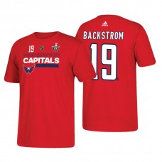 Washington Capitals #19 Nicklas Backstrom 2018 Stanley Cup Playoffs Red Participant Adidas T-shirt