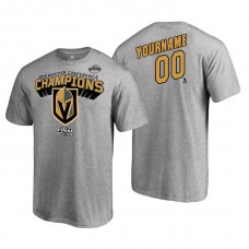 Vegas Golden Knights #00 Custom 2018 Western Conference Champions Heather Gray T-Shirt