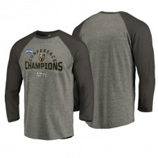Vegas Golden Knights # 2018 Western Conference Champions Heather Gray Boarding Tri-Blend Raglan Long Sleeve T-Shirt