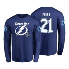 Tampa Bay Lightning #21 Brayden Point 2018 Stanley Cup Playoffs Royal Long Sleeve T-Shirt