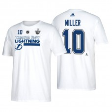 Tampa Bay Lightning #10 J.T. Miller 2018 Stanley Cup Playoffs White Participant Adidas T-Shirt