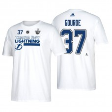 075d85471 Tampa Bay Lightning  37 Yanni Gourde 2018 Stanley Cup Playoffs White  Participant Adidas T-
