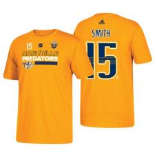 Nashville Predators #15 Craig Smith 2018 Stanley Cup Playoffs Gold Participant Adidas T-shirt