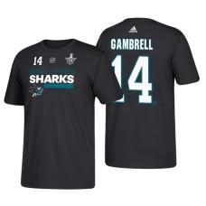 San Jose Sharks #14 Dylan Gambrell 2018 Stanley Cup Playoffs Black Participant Adidas T-Shirt