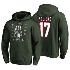 Minnesota Wild #17 Marcus Foligno Bound Behind The Net Hoodie Green