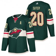 Minnesota Wild #20 Ryan Suter Green 2018 New Season Home Authentic Jersey With Anniversary Patch