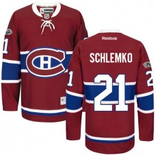 Montreal Canadiens #21 David Schlemko Red Anniversary Patch Reebok Home Premier Jersey