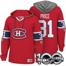 Montreal Canadiens #31 Carey Price Red Anniversary Classic Patch Hoodie