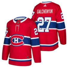 Montreal Canadiens #27 Alex Galchenyuk Red 2018 New Season Home Authentic Jersey With Anniversary Patch