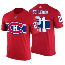 Montreal Canadiens #21 David Schlemko Red Adidas Player T-shirt