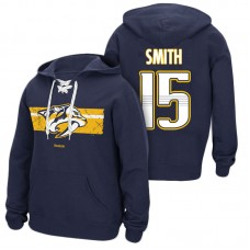 Nashville Predators #15 Craig Smith Navy Primary Logo Player Pullover Hoodie
