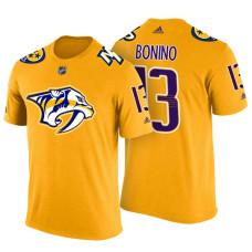 Nashville Predators #13 Nick Bonino Gold Adidas Player T-shirt