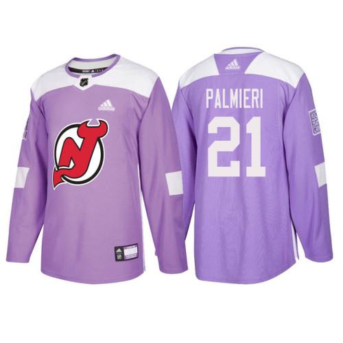 fa7ba490249 New Jersey Devils #21 Kyle Palmieri Purple Hockey Fights Cancer Authentic  Jersey