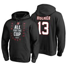 New Jersey Devils #13 Nico Hischier Black 2018 Stanley Cup Playoffs Hoodie