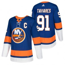 New York Islanders #91 John Tavares Royal 2018 New Season Authentic Team Home Captain Jersey