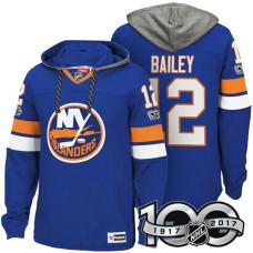 New York Islanders #12 Josh Bailey Royal 2017 Anniversary Patch Hoodie