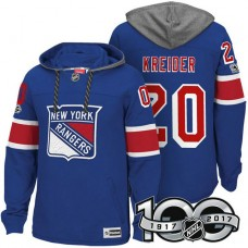 New York Rangers #20 Chris Kreider Royal 2017 Anniversary Patch Hoodie