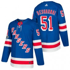 New York Rangers #51 David Desharnais Royal 2018 New Season Home Authentic Jersey With Anniversary Patch