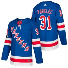 New York Rangers #31 Ondrej Pavelec Royal 2018 New Season Home Authentic Jersey With Anniversary Patch