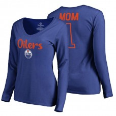 Edmonton Oilers 2018 Fanatics Mother's Day Number 1 Mom long sleeve T-Shirt Royal
