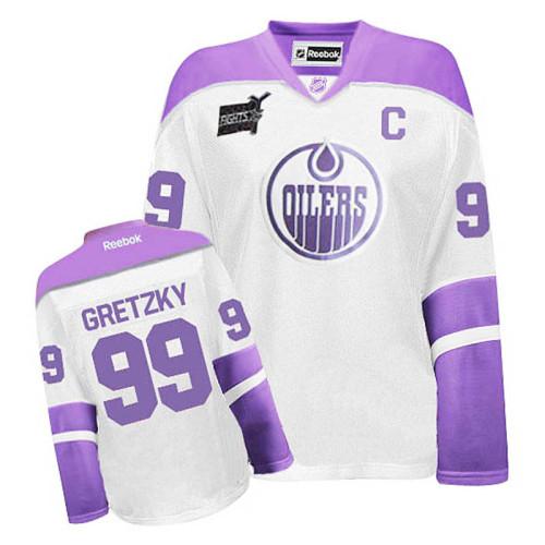 Women's Edmonton Oilers Wayne Gretzky #99 White/Pruple Jersey