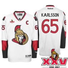Ottawa Senators #65 Erik Karlsson White 1992-2017 25th Anniversary Premier Jersey