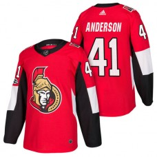 Ottawa Senators #41 Craig Anderson Red 2018 New Season Home Authentic Jersey With Anniversary Patch