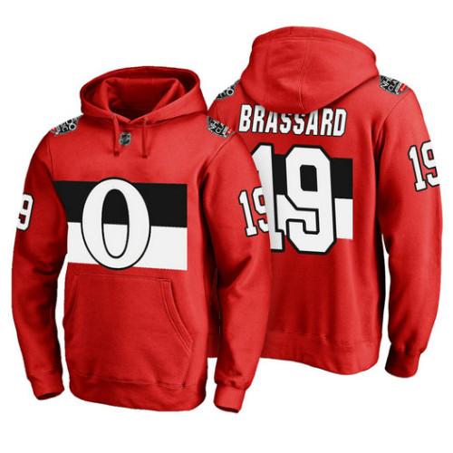 Ottawa Senators #19 Derick Brassard Red 100 Classic Pullover Hoodie