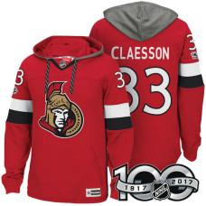 Ottawa Senators #33 Fredrik Claesson Red 2017 Anniversary Patch Hoodie