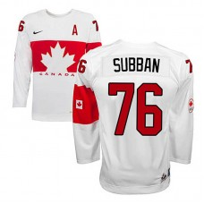 Youth Canada Team P.K Subban #76 White Home Premier Olympic Jersey