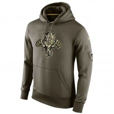 Florida Panthers Olive Salute To Service Pullover Hoodie