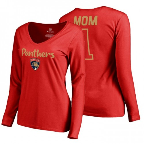 Florida Panthers 2018 Fanatics Mother's Day Number 1 Mom long sleeve T-Shirt Red